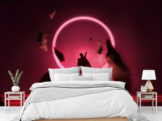 Futuristic fantasy glowing red loop with a person reaching up into it. Conceptual portrait 3D illustration