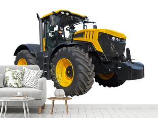 Big yellow agricultural tractor isolated on a white background