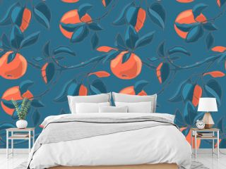 Art floral vector seamless pattern with autumn apples.