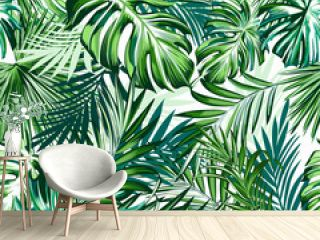 Beautiful tropical pattern with green palm leaves for design ideal for fabric design
