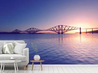 Firth of Forth with Forth Bridge at sunrise near Edinburgh, Scotland