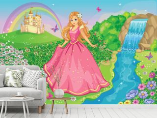 Beautiful Princess in a pink dress. Cute fairy. Fairytale background with flower meadow or park, castle, rainbow. Wonderland. Magical landscape. Children's cartoon illustration. Romantic story. Vector