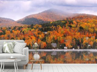 Panoramic view of Mont Tremblant village in autumn time