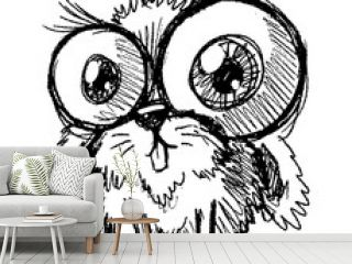Graphic hand drawn cute funny little bunny rabbit with big eyes. Isolated on white background. Vector icon.