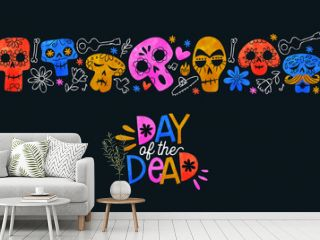 Day of the dead card colorful watercolor skull art