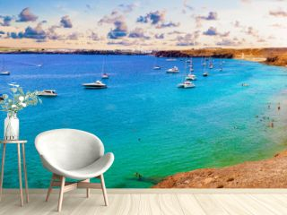 Spanish beaches and coastline.Spanish View scenic landscape in Papagayo, Playa Blanca Lanzarote ,Tropical Volcanic Canary Islands Spain