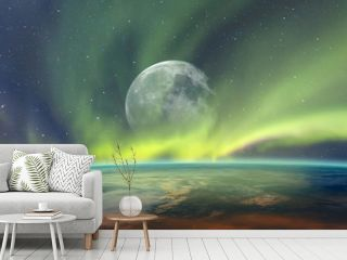 """Northern lights aurora borealis over planet Earth with full moon """"Elements of this image furnished by NASA"""""""