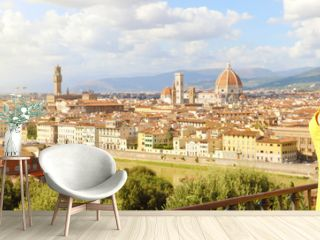 Beautiful woman in the city of Florence birthplace of the Renaissance. Panoramic banner with pretty girl enjoying view of Florence city in Tuscany, Italy.