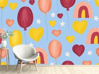 Rainbows hearts stars and balloons seamless kids pattern. Hand drawn cute children illustration background. Pink yellow purple kids icons painted style. Use for fabric, gift wrap, birthday