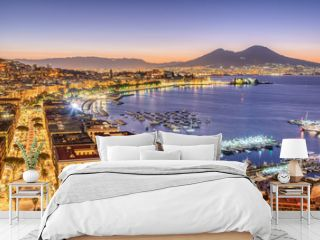 The city of Naples in Italy with Mount Vesuvius before sunrise