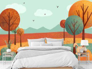 Autumn landscape (card) with rabbit, hedgehog, leaves, trees. Hand drawn illustration.