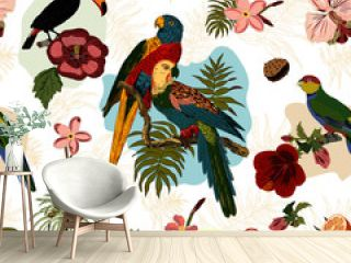 This seamless vector pattern features tropical birds parrots, toucans and flowers, trees, plants. You can use is as repeat pattern for fabric, wallpaper, wrapping paper and other projects.