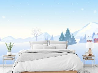 Winter snow covered landscape with a cute snowman, mountain background