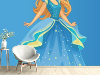 Beautiful fairytale Elf princess. Cartoon illustration for children's print or sticker. Fabulous or romantic story. Wonderland. Toy or pretty doll for girl. Vector.