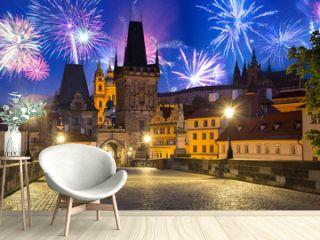 Fireworks display over the Charles bridge in Prague, Czech Republic