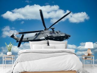 Military helicopter at low altitude