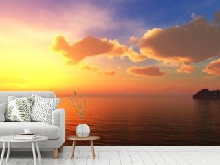 Beautiful sea sunset near the rocks, panorama of the sea landscape at sunrise. 3d rendering.