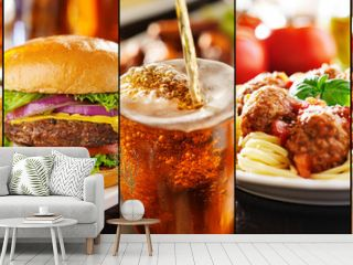 collage of american style restaurant foods