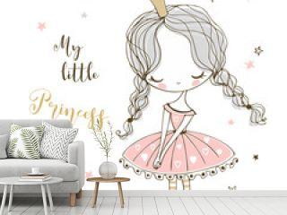 Cute little Princess in Doodle style. Vector.