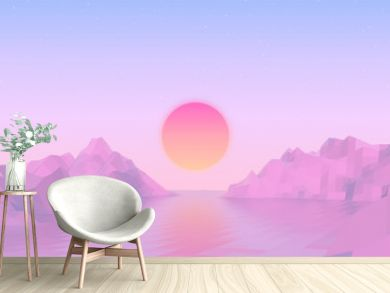 Abstract vaporwave landscape with sun rising over pink mountains and sea on calm pink and blue background