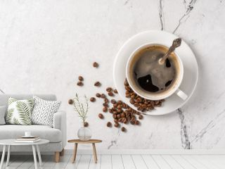 Morning black coffee in white cup