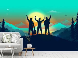 Winning team in landscape - three friends on hilltop cheering with hands in air. Exited men on a journey reaching their goals. Success, winners and team building concept. Vector illustration.