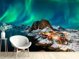 Aurora borealis over Hamnoy in Norway