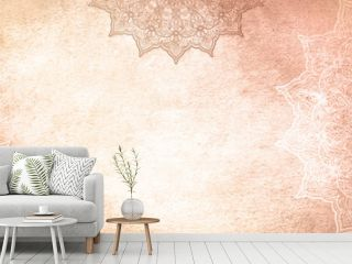 Light golden earthy textured watercolor background with mandalas