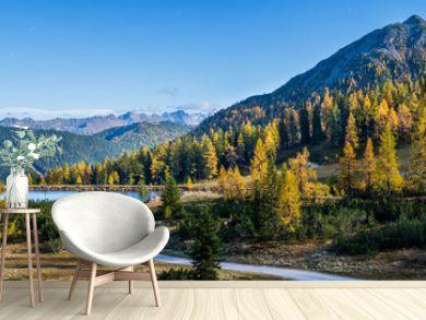 Peaceful autumn Alps mountain view. Reiteralm, Steiermark, Austria.