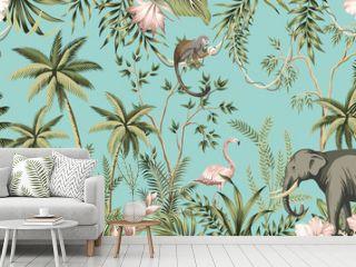 Tropical vintage botanical landscape, hibiscus flower, palm tree, plant, palm leaves, sloth, monkey, elephant, flamingo floral seamless border turquoise background. Jungle animal wallpaper.
