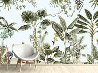 Tropical vintage botanical landscape, palm tree, liana, plant, crane bird floral seamless border blue background. Exotic green jungle animal wallpaper.