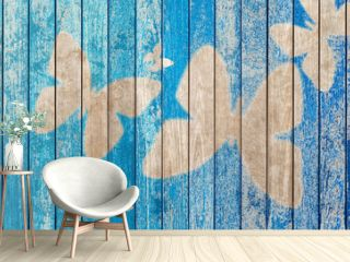 wood texture background with butterflies