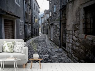 Alleys And Narrow Street Of Old Town Perast, Montenegro.