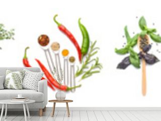 Different fresh spices, herbs and vegetables on white background