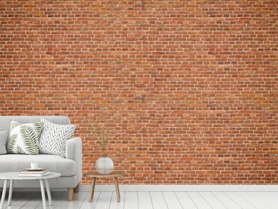 Brick wall. Old vintage brick wall pattern. Red brick wall panoramic background.