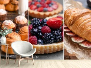 Collage of photos with different tasty pastries