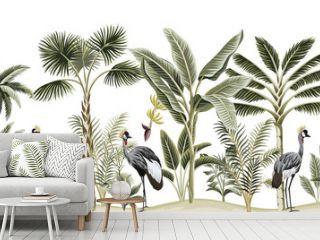 Tropical vintage botanical landscape, palm tree, banana tree, plant, crane bird floral seamless pattern white background. Exotic green jungle animal wallpaper.