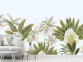 Tropical vintage botanical landscape, palm tree, banana tree, plant floral seamless border blue background. Exotic green jungle wallpaper.