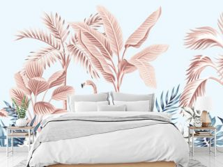 Tropical vintage botanical landscape, pink palm tree, banana tree, blue plant, pink flamingo floral seamless border grey background. Exotic jungle animal wallpaper.