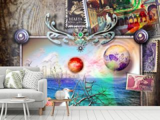 Fairy tale window with seaside on vintage background with old Italian stamps