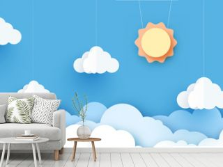 Vector sun with clouds background.paper cut style. Cloudy paper cut art, vector illustration. Volumetric cloudscape horizontal background. Banner with 3d clouds on blue sky