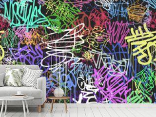 Graffity wall colorful tags seamless pattern, graffiti street art