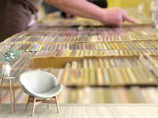 A collection of audio CDs. Music Store.