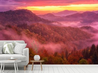 Amazing misty sunrise over the alpine wooded mountain ridge, scenic landscape, outdoor travel background, Alps mountains, Slovenia