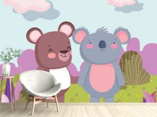 little teddy bear and koala cartoon character forest foliage nature landscape