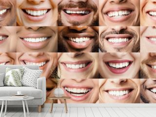 Panoramic collage of multiethnic people white smiles