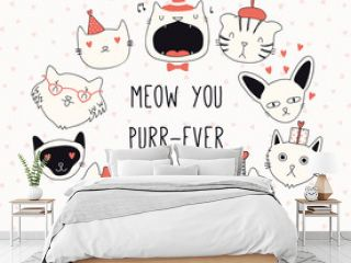 Hand drawn Valentines day card, banner with different cute cats in hats, with hearts, text Meow you purr-ever. Vector illustration. Line drawing. Design concept for holiday print, invite, gift tag.