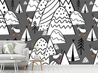 Northern forest. Illustration in folk style. Stylized mountains. Scandinavian print. Line drawing. Seamless pattern for kids..