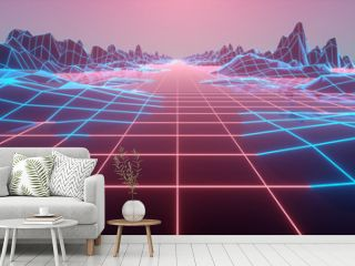 Retro futuristic background 1980s style. Digital landscape in a cyber world. 3d illustration