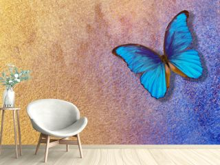 gold and blue background. watercolor paper painted in blue and gold paint. bright morpho butterfly on a blue and gold background. watercolor paper texture